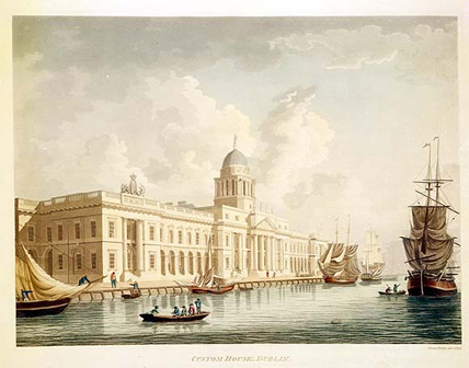 View of the Custom House, Dublin by James Malton (PD 3181 TX81).