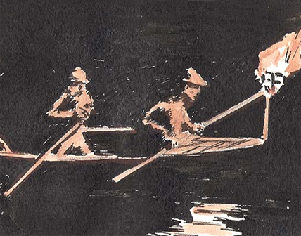 [Men rowing a boat with a torch] by Robert Gregory. 3040 TX 21(B).