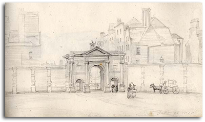 """Entrance to Dublin Society House Sept 20 1818"", James H Brocas (2032 TX 21)."
