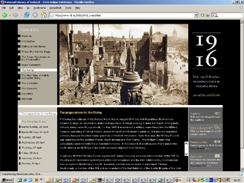 Screenshot of 1916 Online Exhibition
