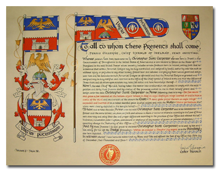 Example of Letters Patent signed and sealed by the Chief Herald December 2005