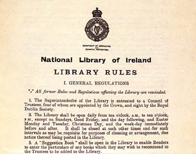 Department of Agriculture and Technical Instruction, Rules of the NLI, 1894