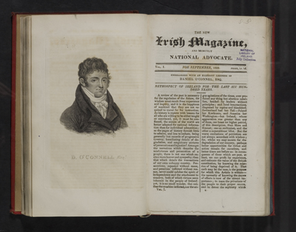 "The Irish Magazine ""embellished with an ellegant likeness of Daniel O'Connel"", September 1822."