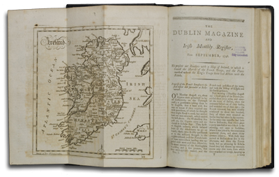 """The Dublin Magazine"", featuring a map showing the movement of French troops, September 1798."