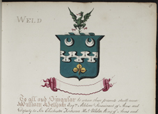 Grant of arms to Mathew Weld, 1811. NLI Ref: GO MS 106