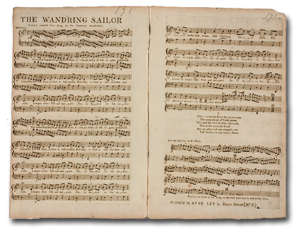 'The Wand'ring Sailor', composed by Samuel Arnold. Published by Anne Lee, Dublin, c. 1780.