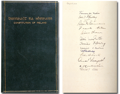 Bunreacht na hÉireann 1937, signed by Eamon de Valera and members of his Cabinet