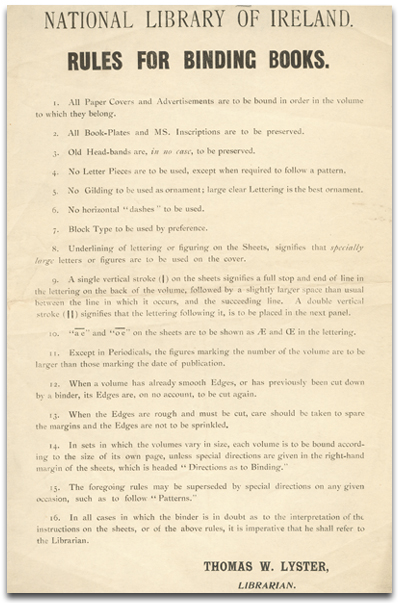 National Library rules for binding books, 1899 (EPH EDU 1890-1900,1).