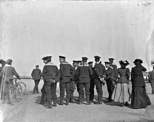 Sailors standing near the seafront in Kingstown