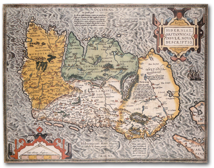 Map of Ireland from 'Theatrum Orbis Terrarum,' Antwerp 1592