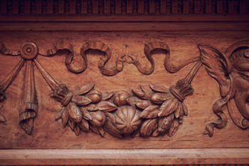Main Building, wood panel detail
