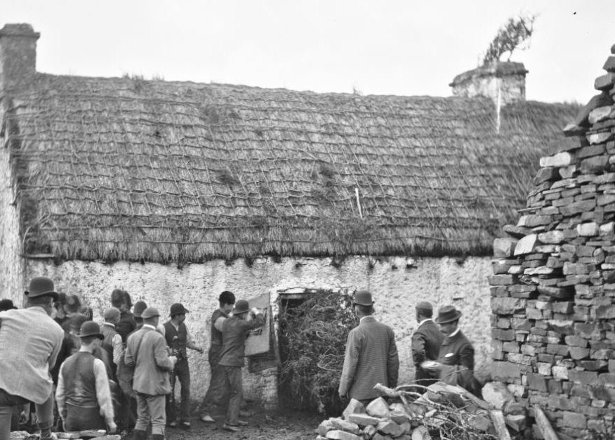 Eviction on the Vandeleur estate in county Clare, c. 1890. NLI Ref: LRoy1773
