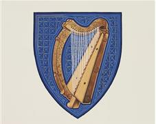 The Arms of Ireland, Azure a harp Or stringed Argent, were registered in 1945.