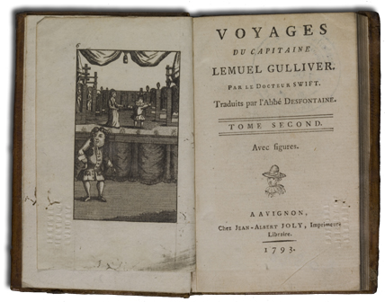 "A French translation of ""Gulliver's Travels"", 1793."